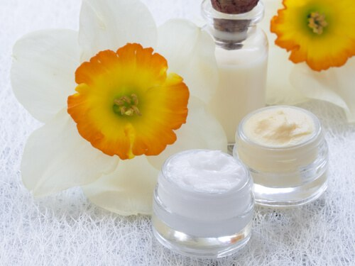Facial Cream and Flowers