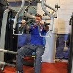 Ross Austen working out in gym