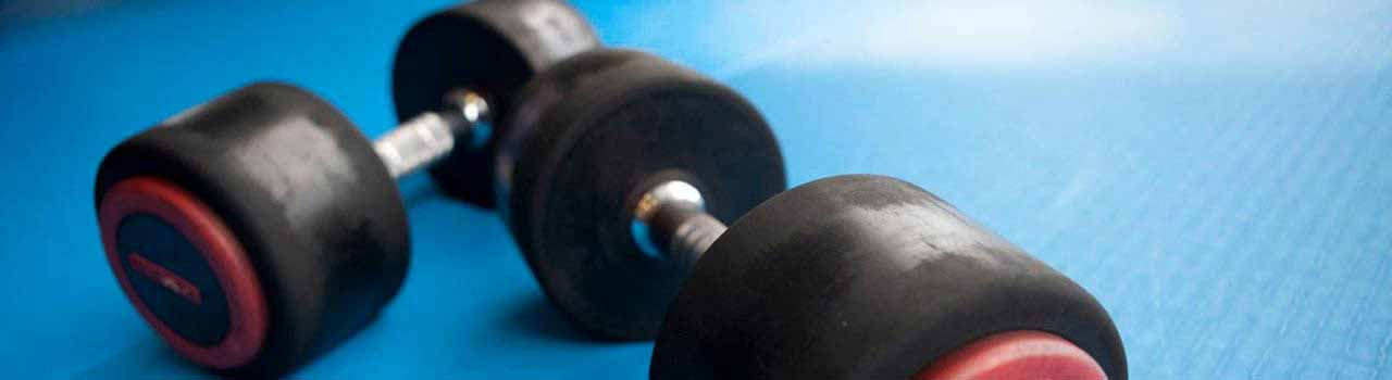 weights on blue background