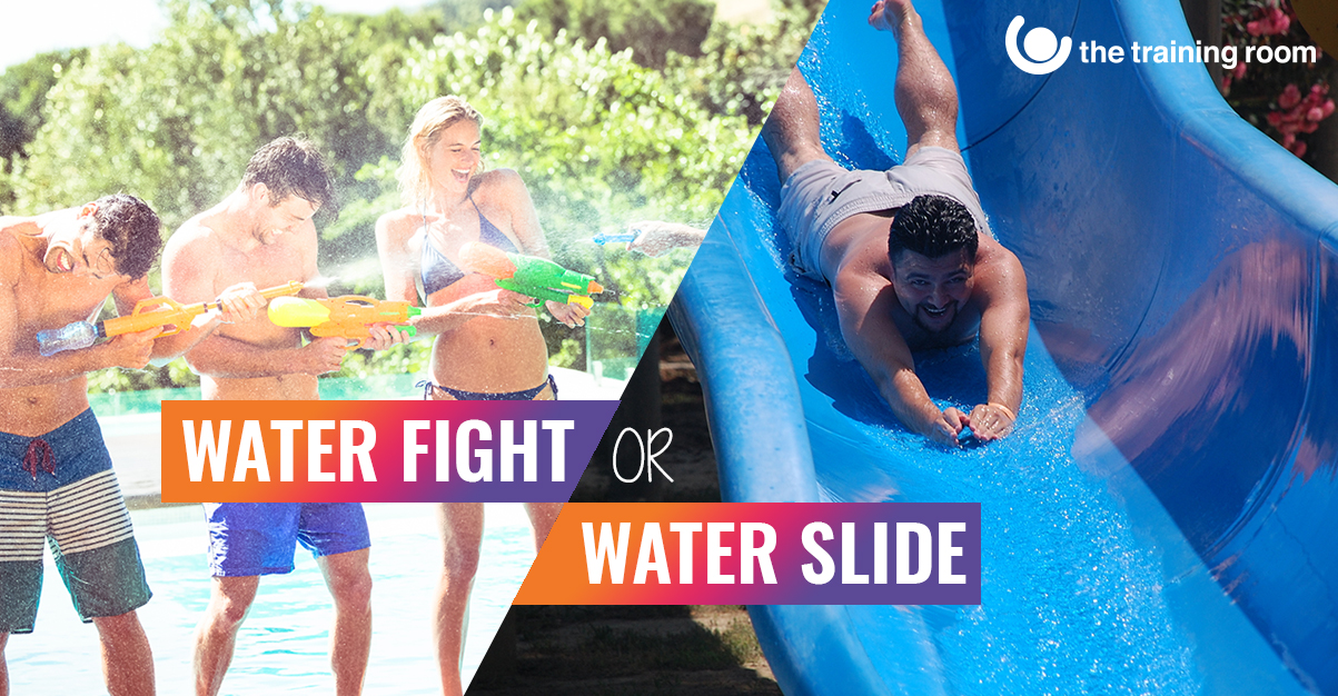 A water fight and a water slide