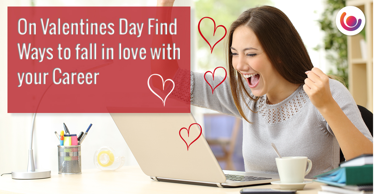 woman working on computer with hearts surrounding her