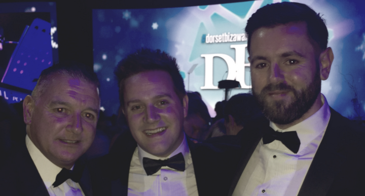 Kevin Horder, Paul Arnold and Lewis Barr judge the emerging business award at the Dorset Business Awards