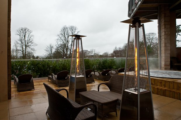 The outside terrace of Cadbury House Spa